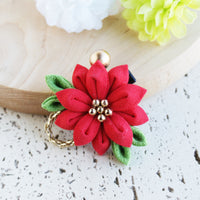 Christmas Flower Red Poinsettia Japanese Kanzashi Hair Clip
