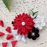 Chrysanthemum Bouquet Hair Clip - Red/Black