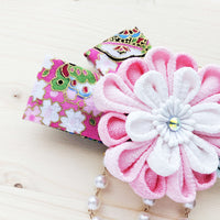 Chrysanthemum Hair Clip with Ribbons - Pink