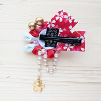 Chrysanthemum Hair Clip with Ribbons - Red Pink