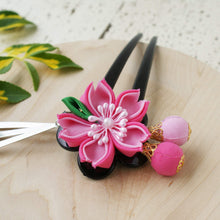 Cherry Blossom Two Leg Hair Stick - Kanzashi Hair Stick Pink