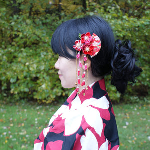 Summer Breeze Fan and Plum Blossoms Dangle Hair Piece for Kimono with model