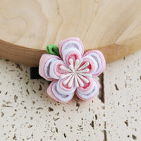 Double Layers Plum Blossoms Kanzashi Hair Clip Pink