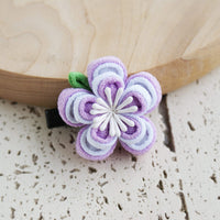 Double Layers Plum Blossoms Kanzashi Hair Clip Purple