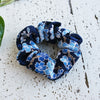 Fabric Scrunchie - Cherry Blossoms Black/Blue