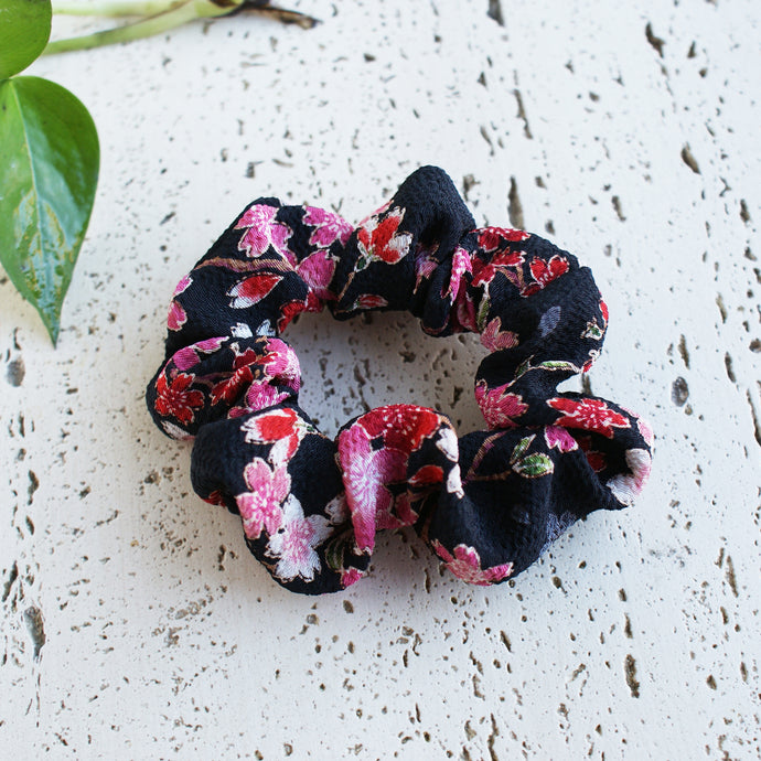 Fabric Scrunchie - Cherry Blossoms Black/Pink
