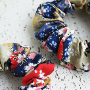 Fabric Scrunchie - Cherry Blossoms in Blue, Red, Gold