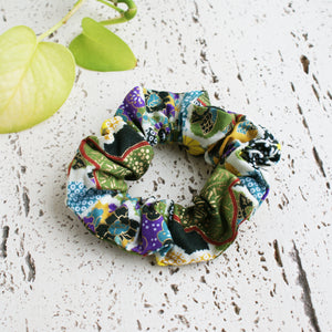 Fabric Scrunchie - Japanese Flowers in Green Multi