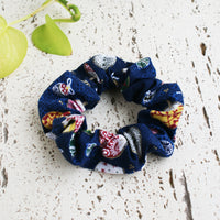 Fabric Scrunchie - Japanese Uchiwa Fan in Blue