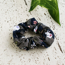 Fabric Scrunchie - Moon Bunnies in Navy