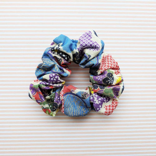 Fabric Scrunchie - Plum Blossoms in Blue Red Multi