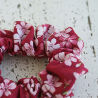 Fabric Scrunchie - Red Cherry Blossoms