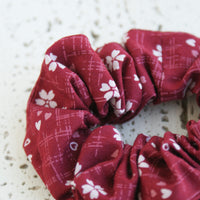 Fabric Scrunchie - Small Cherry Blossoms Red