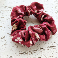 Fabric Scrunchie - Sweet Cherry Blossoms Maroon