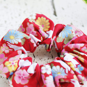 Fabric Scrunchie Cherry Blossoms and Moon Bunnies in Red - Kimono Hair Accessories - Closeup