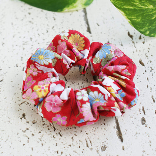 Fabric Scrunchie Cherry Blossoms and Moon Bunnies in Red - Kimono Hair Accessories