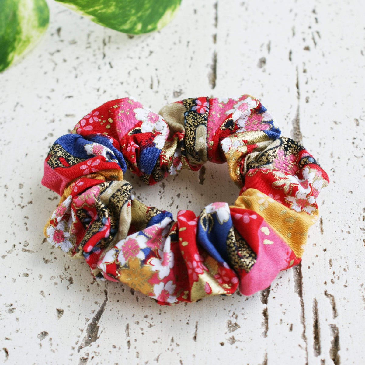 Fabric Scrunchie Cherry Blossoms in Red Gold Multi for Kimonos