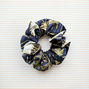 Fabric Scrunchie Crane in Blue for Kimonos
