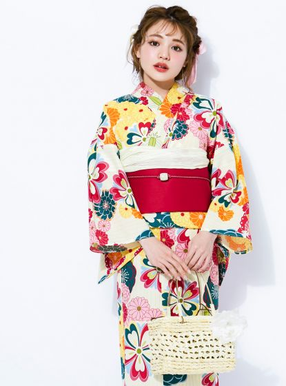GRL Yukata - Chrysanthemums and Plum Blossoms White