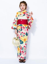 GRL Yukata - Chrysanthemums and Plum Blossoms White Full