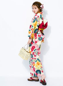 GRL Yukata - Chrysanthemums and Plum Blossoms White Side