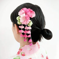 Geisha Cherry Blossoms Fabric Hair Ornament for Kimonos with model