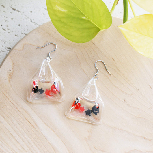 Gold Fish Earrings - Japanese Accessories