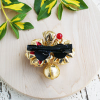 Golden Cherry Blossoms Kanzashi Hair Clip - Back