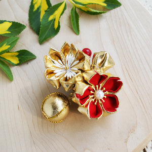 Golden Cherry Blossoms Kanzashi Hair Clip