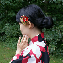 Golden Cherry Blossoms Kanzashi Hair Clip with model