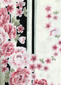 Yukata Kimono - Pink Chrysanthemum and Cherry Blossoms Stripes White