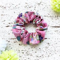 Fabric Scrunchie - Cherry Blossoms in Pink with Golden Accents