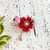 Sakura Petals Hair Clip - Red