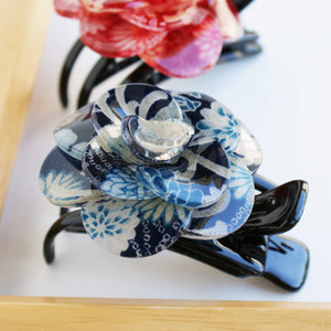 Japanese Camellia Claw Clip by Cocoluck - Blue