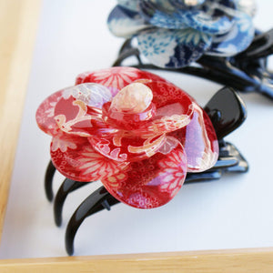 Japanese Camellia Claw Clip by Cocoluck - Red