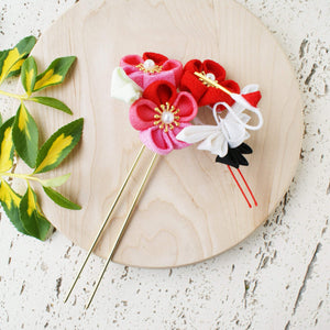 Japanese Crane with Plum Blossom Kanzashi Flower Hair Stick - Full