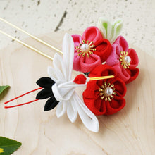 Japanese Crane with Plum Blossom Kanzashi Flower Hair Stick - Side