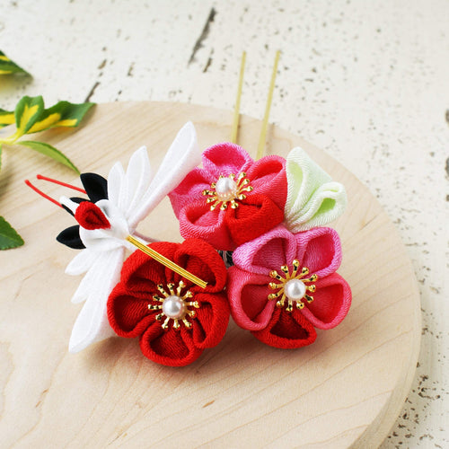 Japanese Crane with Plum Blossom Kanzashi Flower Hair Stick