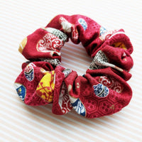 Fabric Scrunchie - Japanese Uchiwa Fan in Red - Side