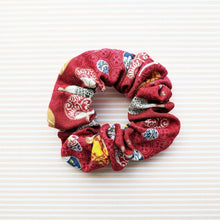 Fabric Scrunchie - Japanese Uchiwa Fan in Red