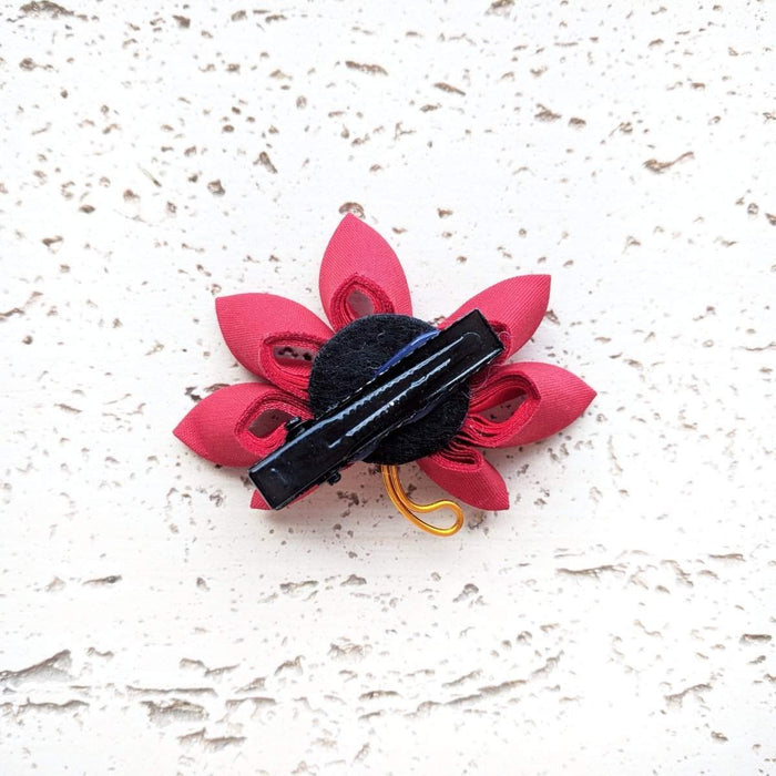 Japanese Kanzashi Fall Leaf Hair Clip - Back