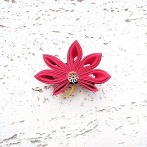 Japanese Kanzashi Fall Leaf Hair Clip - Red