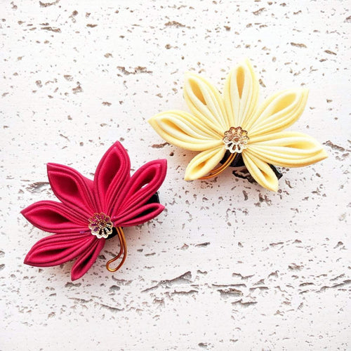 Japanese Kanzashi Fall Leaf Hair Clips