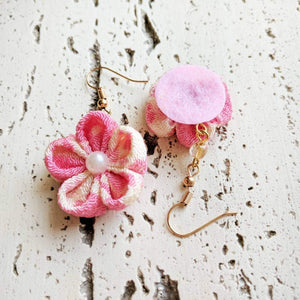 Japanese Kanzashi Plum Blossom Earrings for Kimono - Back
