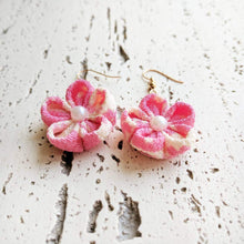 Japanese Kanzashi Plum Blossom Earrings for Kimono - Closeup
