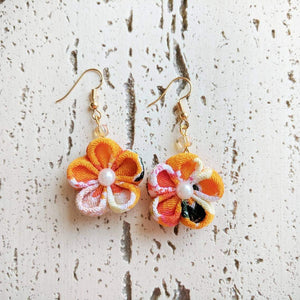 Japanese Kanzashi Plum Blossom Earrings for Kimono - Orange