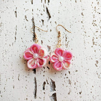 Japanese Kanzashi Plum Blossom Earrings for Kimono - Pink