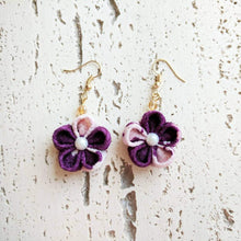 Japanese Kanzashi Plum Blossom Earrings for Kimono - Purple