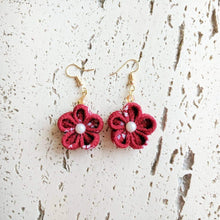 Japanese Kanzashi Plum Blossom Earrings for Kimono - Red