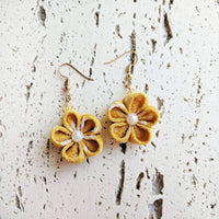 Japanese Kanzashi Plum Blossom Earrings for Kimono - Yellow